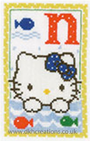 Hello Kitty Alphabet Letter N Cross Stitch Kit